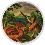 Alchemical Knight Slays The Primordial Round Beach Towel by Science Source