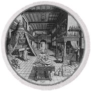 Alchemists Laboratory, 1595 Round Beach Towel by Science Source