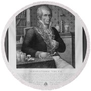 Alessandro Volta, Italian Physicist Round Beach Towel by Omikron