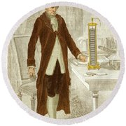 Alessandro Volta, Italian Physicist Round Beach Towel by Science Source