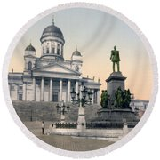 Alexander II Memorial At Senate Square In Helsinki Finland Round Beach Towel