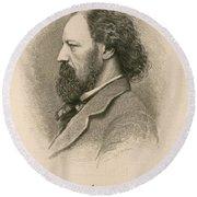 Alfred, Lord Tennyson, English Poet Round Beach Towel