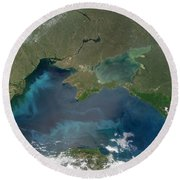 Algal Blooms In The Black Sea Round Beach Towel