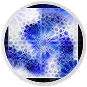 Alhambra Pattern Blue Round Beach Towel