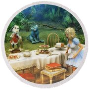 Alice In Wonderland Round Beach Towel by Jutta Maria Pusl