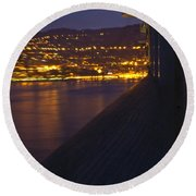 Alien Spacecraft Over Villefranche Round Beach Towel