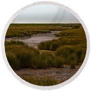 All Hallows Marshes Round Beach Towel