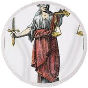 Allegory: Justice, 1726. Line Engraving (detail), German Round Beach Towel