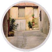 Alley In Arles France Round Beach Towel
