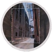 Alley With Fire Escape Layered Round Beach Towel