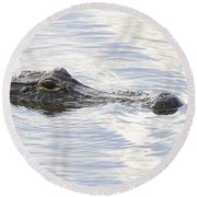 Alligator With Sky Reflections - A Closer View Round Beach Towel