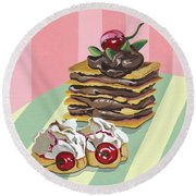 Almond Cake Round Beach Towel