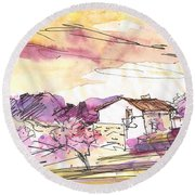 Almond Trees In Spain 02 Round Beach Towel