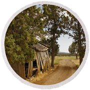 Almost A Pile Of Wood Barn Vertical Round Beach Towel