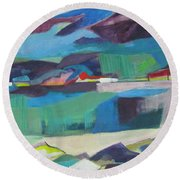 Almost Abstract Painting Round Beach Towel