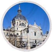 Almudena Cathedral In Madrid Round Beach Towel