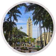 Aloha Tower II Round Beach Towel