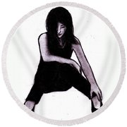 Alone And Alright Round Beach Towel
