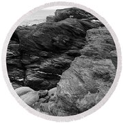 Alone Time Bw Round Beach Towel