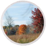 Alone With Autumn Round Beach Towel