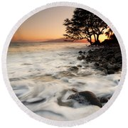 Alone With The Sea Round Beach Towel by Mike  Dawson