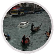 Along The Canal Round Beach Towel