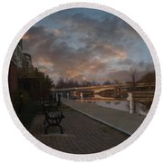 Along The Menasha Riverfront Round Beach Towel