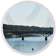 Along The Schuylkill River At Strawberry Mansion Round Beach Towel