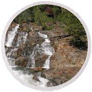 Alpine Creek Falls Lake Tahoe Round Beach Towel