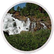 Alpine Falls Lake Tahoe II Round Beach Towel