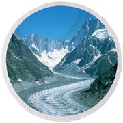 Alpine Glacier Round Beach Towel