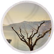 Alpine Lake With Islands Round Beach Towel