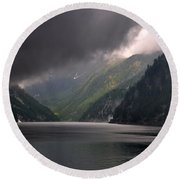 Alpine Lake With Sunlight Round Beach Towel by Mats Silvan