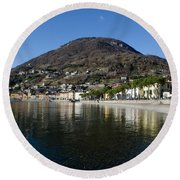 Alpine Village Reflected In The Lake Round Beach Towel
