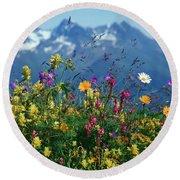 Alpine Wildflowers Round Beach Towel