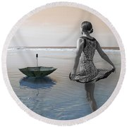 Always Looking To The Light Round Beach Towel