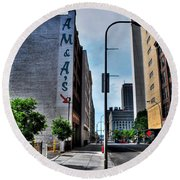 Am And As Downtown Buffalo Round Beach Towel