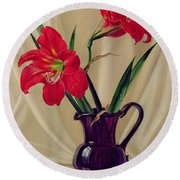 Amaryllis Lillies In A Dark Glass Jug Round Beach Towel