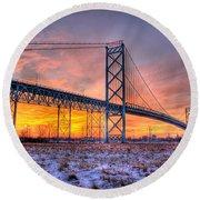Ambassador Bridge Sunrise 1-16-2012  Detroit Mi Round Beach Towel