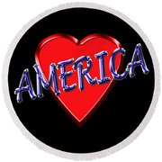 America Round Beach Towel