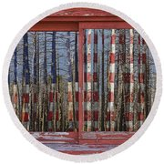 America Still Beautiful Red Picture Window Frame Photo Art View Round Beach Towel