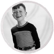 American Boy Round Beach Towel