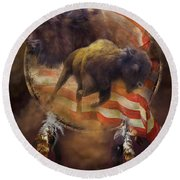 American Buffalo Round Beach Towel by Carol Cavalaris