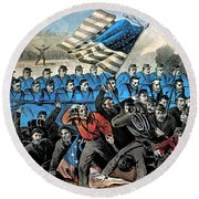 American Civil War, Battle Of Malvern Round Beach Towel by Photo Researchers