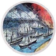 American Civil War, Farraguts Fleet Round Beach Towel