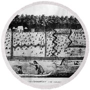 American Farm: Plan, 1793 Round Beach Towel
