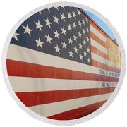 American Flag At Nathan's Round Beach Towel