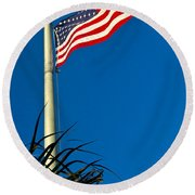 American Flag Flying Over The Palms Round Beach Towel