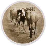 American Quarter Horse Herd In Sepia Round Beach Towel