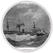 American Steamship, 1870 Round Beach Towel